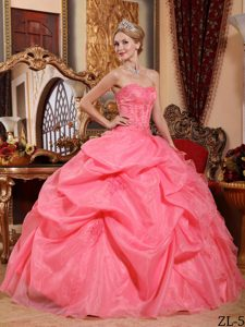 Watermelon Sweetheart Organza Sweet 16 Dress with Pick-ups and Appliques