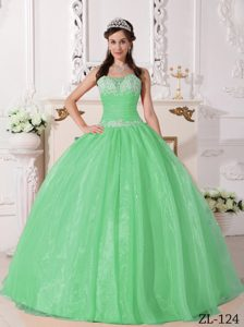 Apple Green Strapless Ball Gown Organza Quinceanera Dresses with Appliques