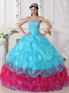 Multi-colored Strapless Organza Dresses for Quince with Appliques and Layers