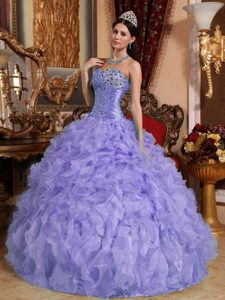 Lavender Sweetheart Ruched Quinceanera Gown Dress with Ruffles and Beading