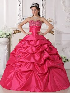 New Hot Pink Sweetheart Quinceanera Dress with Beading and Pick-ups