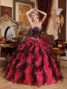 Multi-colored Sweetheart Organza Quinceanera Dress with Beading and Ruffles