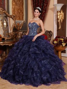 Chic Navy Blue Sweetheart Organza Quinceanera Dress with Beading and Ruffles