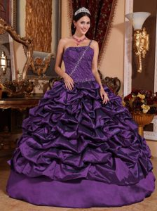 Dark Purple One Shoulder Quinceanera Dress with Pick-ups and Beading