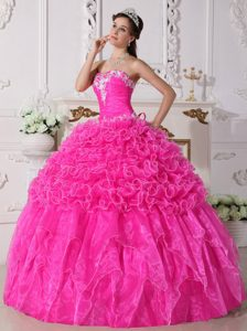 Discount Strapless Hot Pink Organza Sweet 16 Dress with Appliques and Ruffles