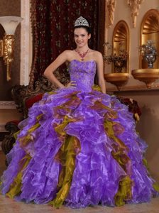 Strapless Multi-colored Quinceanera Dress with Ruffles and Beading for Cheap