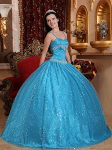 Spaghetti Straps Ball Gown Aqua Blue Beaded Sweet 16 Dress with Appliques