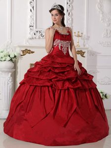 Wine Red Scoop Straps Ball Gown Appliqued Quinceanera Dress with Pick-ups