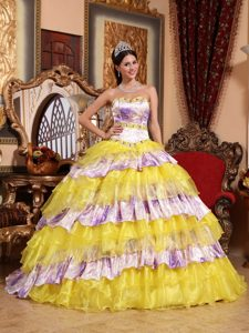 Strapless Yellow and Printed Quinceanera Dress with Layered Ruffles for Cheap