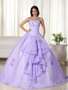 Lilac Strapless Long Organza Quinceanera Dress with Appliques on Sale