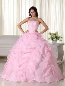 Baby Pink Strapless Ball Gown Quinceanera Dresses with Ruffles and Beading