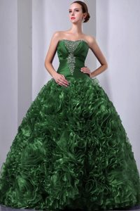 Hunter Green Strapless Long Quinceanera Dress with Ruffles and Beading