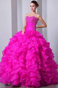 Hot Pink Sweetheart Long Quinceanera Dress with Ruffles and Beading