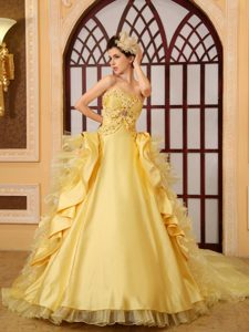 Newest Strapless Court Train Gold Quinceanera Dress with Ruffles and Beading