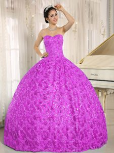 Sweetheart Ball Gown Purple Special Fabric Quinceanera Dress on Promotion