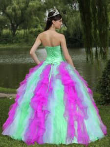 Strapless Multi-colored Organza Quinceanera Dress with Ruffles and Beading