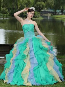 Multi-colored Strapless Ruched Quinceanera Dress with Ruffles and Appliques
