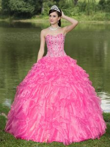 Hot Pink Sweetheart Organza Sweet 16 Dress with Beading and Ruffles on Sale