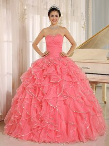 Watermelon Sweetheart Organza Quinceanera Dresses with Ruffles and Beading