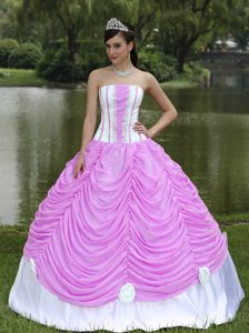 New Strapless White and Pink Quinceanera Dress with Pick-ups and Appliques