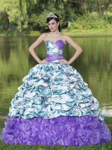 Lavender Printed Sweetheart Ruffled Beaded Quinceanera Dress with Pick-ups