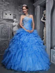 Sky Blue Strapless Ruched Organza Sweet 16 Dress with Appliques and Ruffles