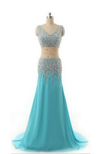 Romantic Asymmetrical Zipper Dress for Prom Aqua Blue for Prom and Party with Beading