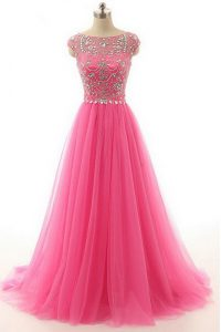Luxury Hot Pink A-line Beading Prom Dresses Zipper Lace Short Sleeves Floor Length