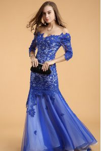 Royal Blue Mermaid Off The Shoulder Sleeveless Lace Floor Length Zipper Beading Prom Dresses