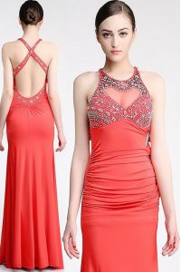Hot Sale Watermelon Red Scoop Criss Cross Beading Formal Evening Gowns Sleeveless