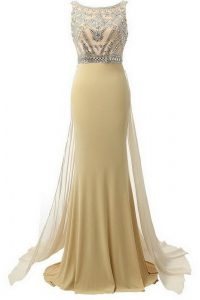 Scoop Side Zipper Evening Dress Champagne for Prom and Party with Beading Brush Train