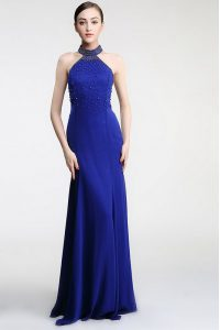Royal Blue Mother Of The Bride Dress Prom and Party and For with Lace High-neck Sleeveless Sweep Train Zipper