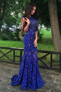 Mermaid Scoop Royal Blue Backless Prom Dress Beading and Lace Sleeveless With Brush Train