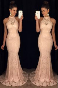 Halter Top Baby Pink Mermaid Lace Prom Dresses Backless Chiffon Sleeveless With Train
