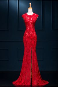 Artistic Mermaid Red Lace Zipper Scoop Sleeveless Floor Length Prom Dresses Lace