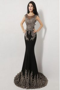 Brush Train Mermaid Prom Dress Black Scoop Silk Like Satin Sleeveless Floor Length Zipper