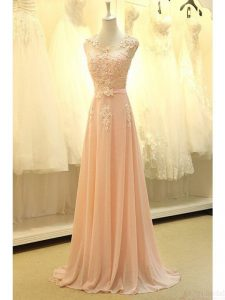 Luxury Scoop Peach Sleeveless Lace and Belt Zipper Prom Evening Gown