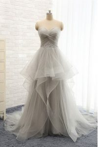 Silver Prom Party Dress Prom and Party and For with Ruching Sweetheart Sleeveless Brush Train Lace Up