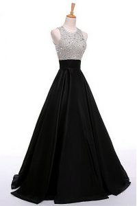 Stunning Black A-line Scoop Sleeveless Satin Floor Length Zipper Beading Prom Party Dress