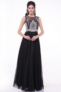 Vintage Chiffon Scoop Sleeveless Zipper Beading and Appliques and Ruching Homecoming Dress in Black