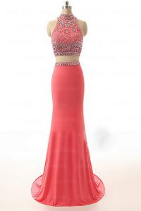 Modern Watermelon Red Satin Backless High-neck Sleeveless Prom Party Dress Brush Train Beading and Appliques and Belt