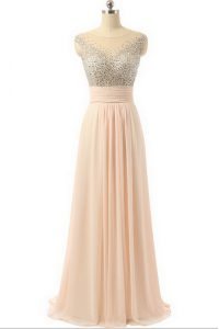Peach Side Zipper Scoop Beading and Sequins and Belt Organza Sleeveless Sweep Train