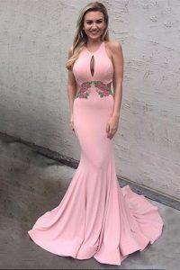 Beauteous Mermaid Scoop Sleeveless Brush Train Appliques Criss Cross Evening Dress
