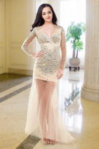 Peach V-neck Neckline Beading Prom Gown Long Sleeves Zipper