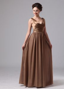 Affordable Brown V-neck Straps Long Satin and Chiffon Bridemaid Dress