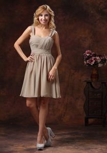 Straps Knee-length Zipper-up Bridemaid Dress With Ruching Decorate in Grey