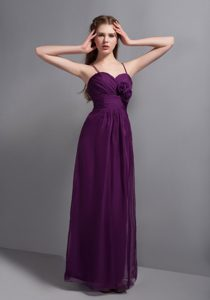 Sexy Purple Ankle-length Straps Chiffon Bridemaid Dress with Hand Made Flower
