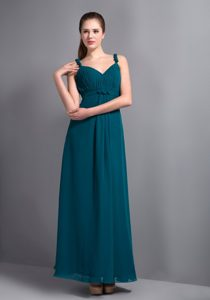 Affordable V-neck Straps Ankle-length Chiffon Bridemaid Dress in Turquoise