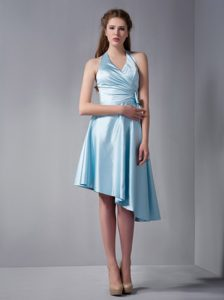 A-line Halter Asymmetrical Elastic Woven Satin Ruched Bridemaid Dress in Sky Blue