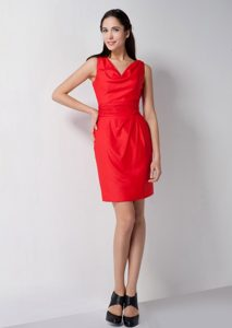 Mini-length V-neck Elastic Woven Satin Bridesmaid Dress in Red